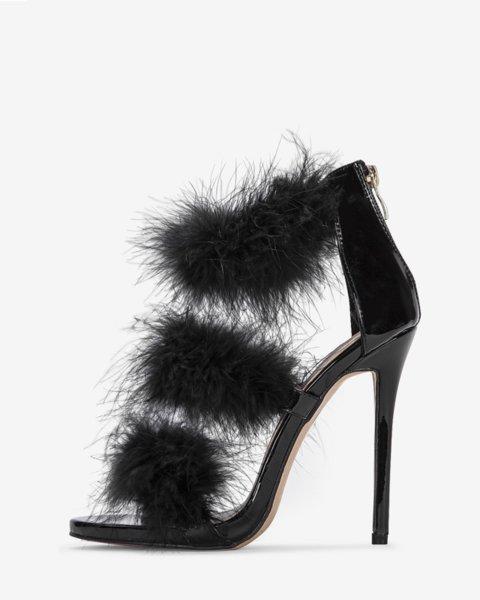 Пухени сандали с пера NAOMI - черни
